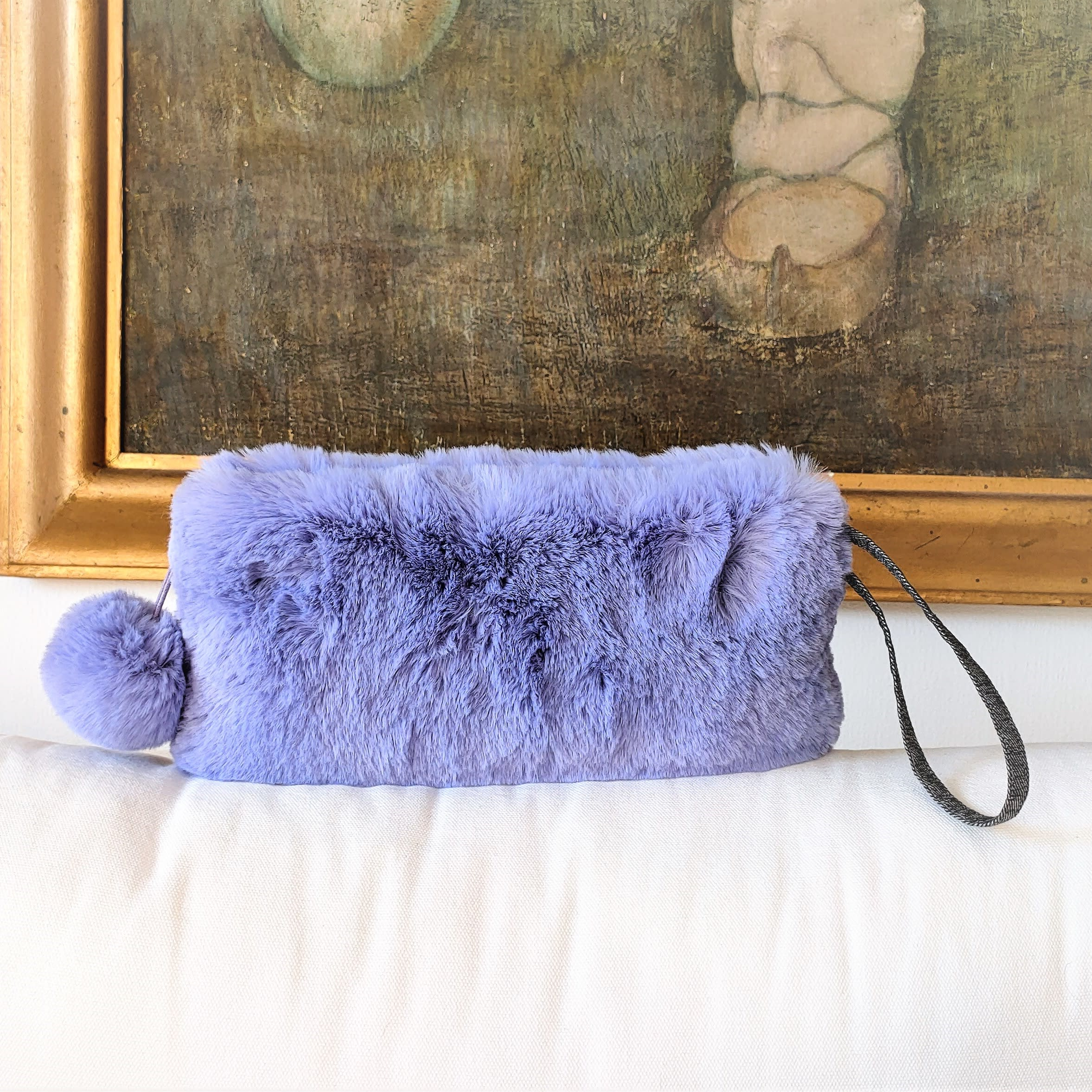 Purple blue lavender faux fur clutch bag. Luxury fashion fake fur soft wrislet, washable and easy going. Winter fashion.