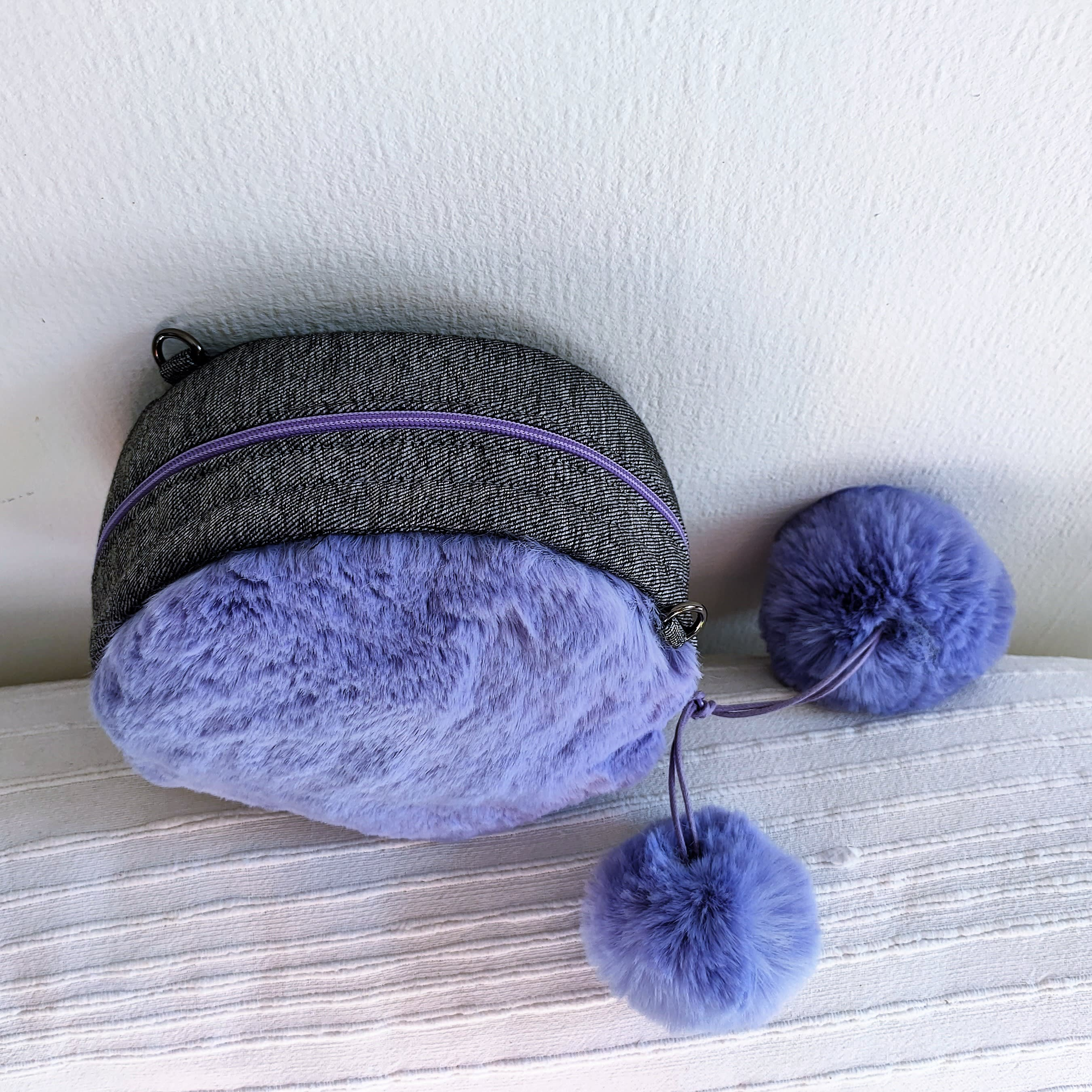 Lavender blue faux fur round bag. Purple fanny pack, crossbody bag. Luxury fake fur soft bag.