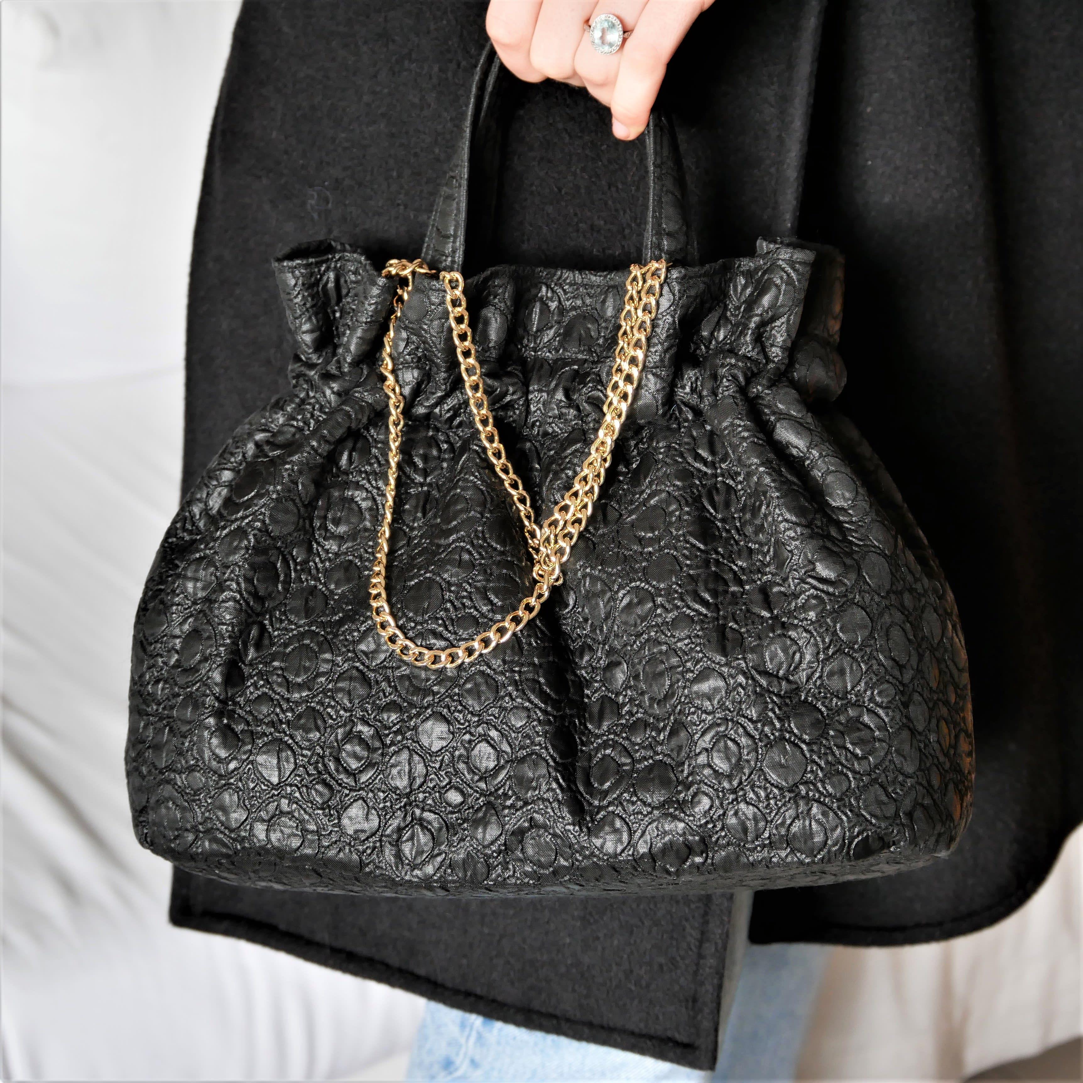 Fifties original black purse. Vintage fabric bag with removable chain. Washable, handmade.