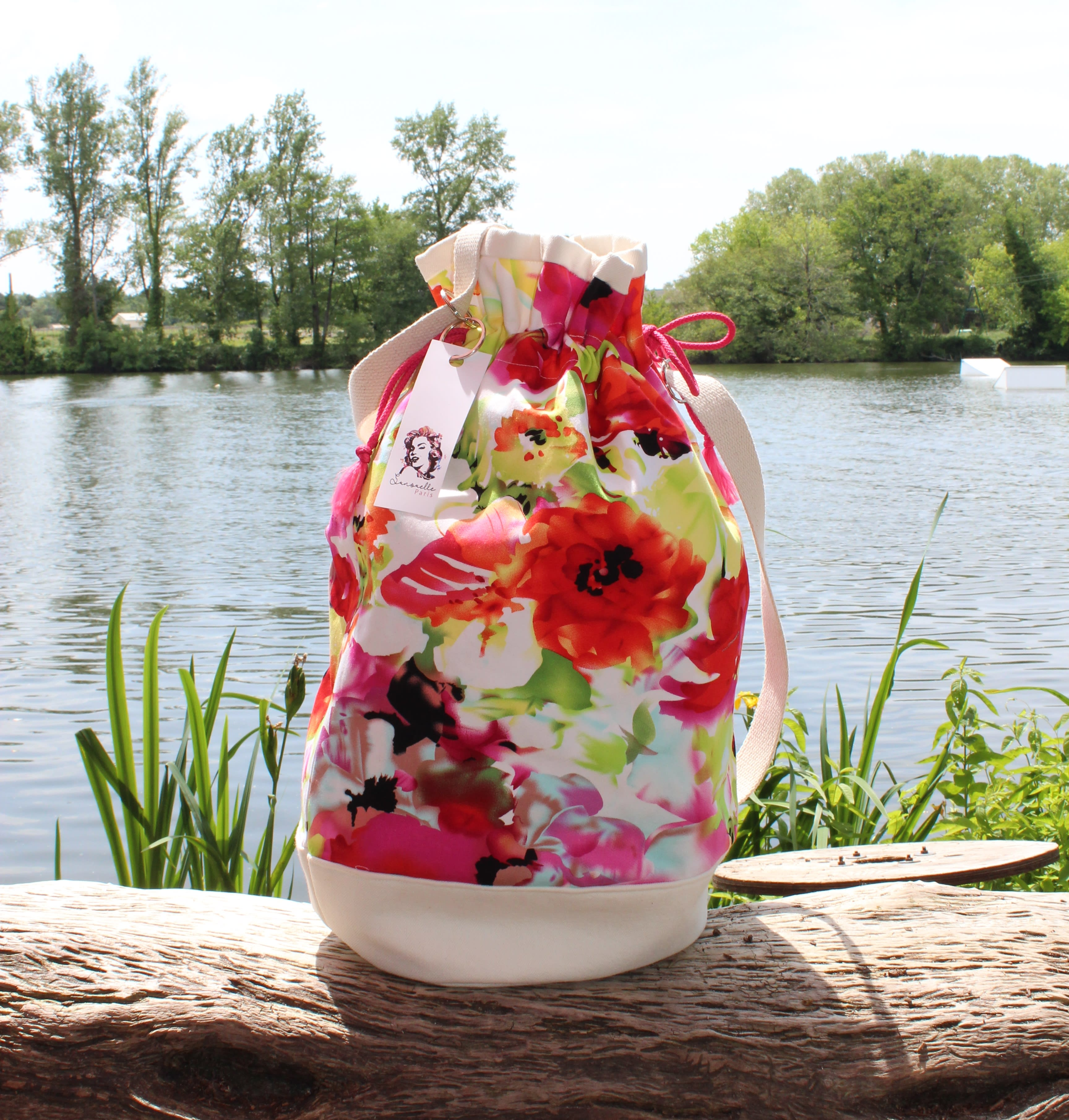 Purse, pink red orange flowers bag, spring summer fashion bag, trendy chic large handbag, luxury fabric beach bag, hand made in france