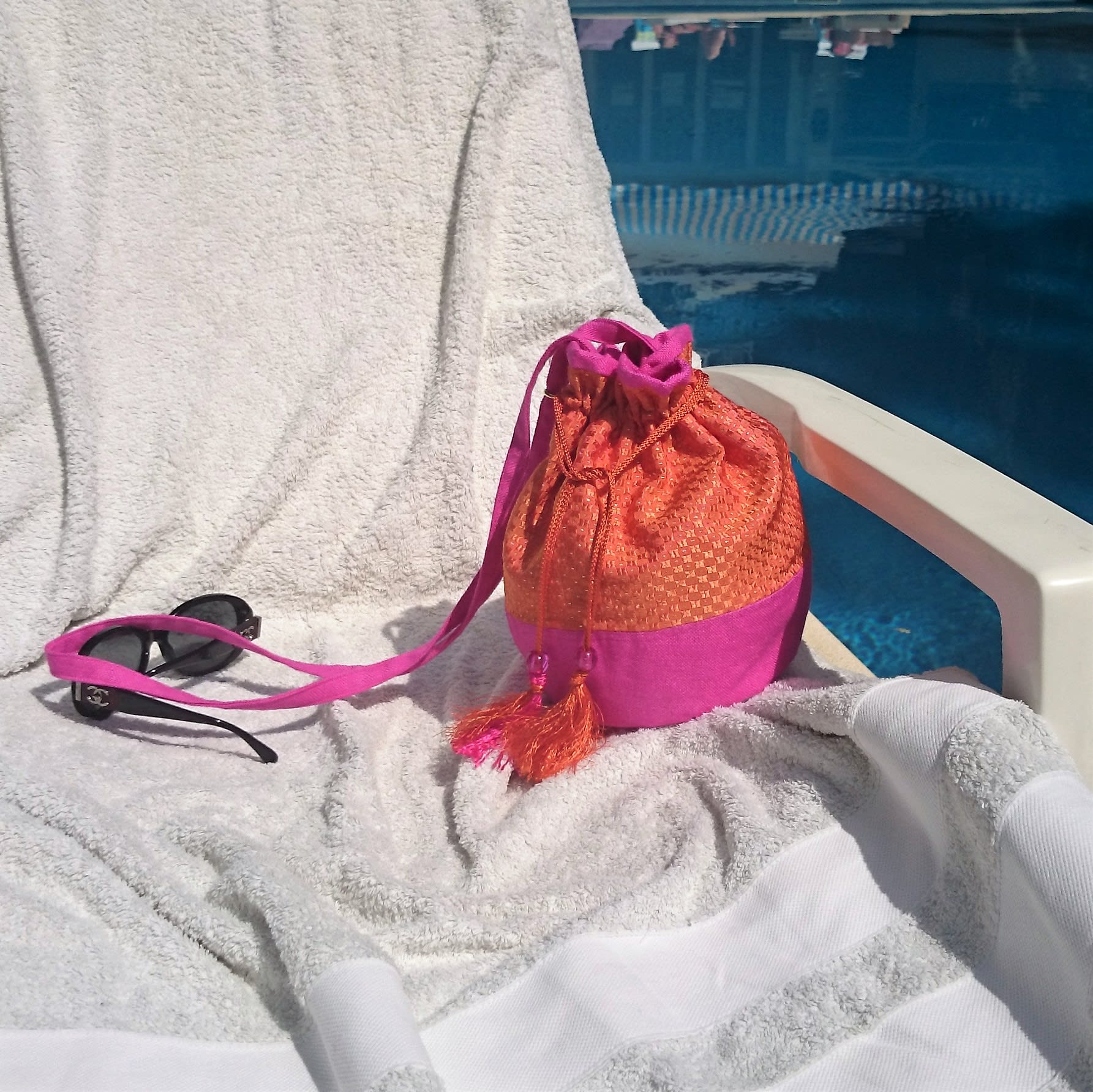 Cross body bag, rose linen and orange silk, handbags made in France, hand made purse, casual chic, women purses