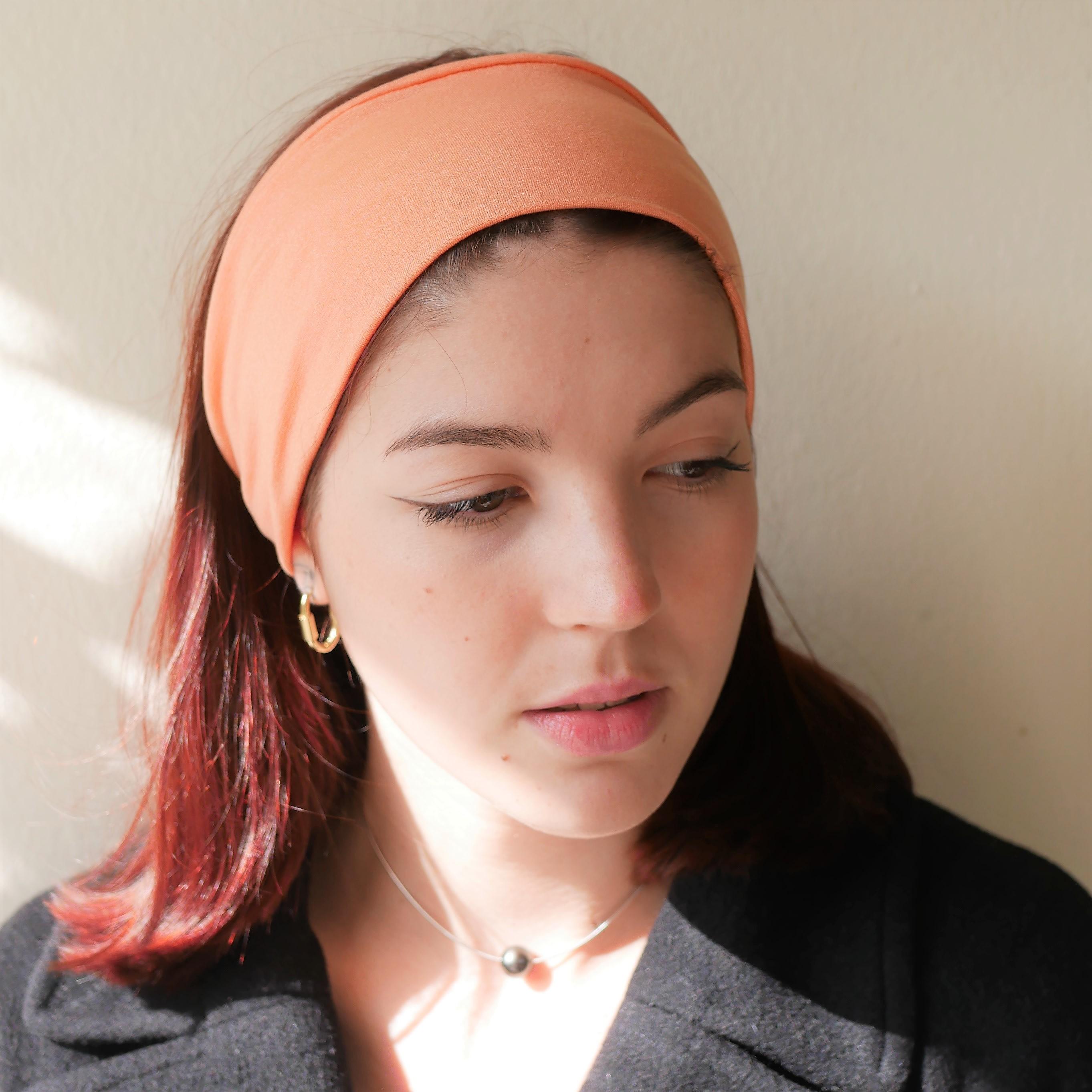 Double twist light orange headband, wide headband, turban headband, yoga headband, workout headband