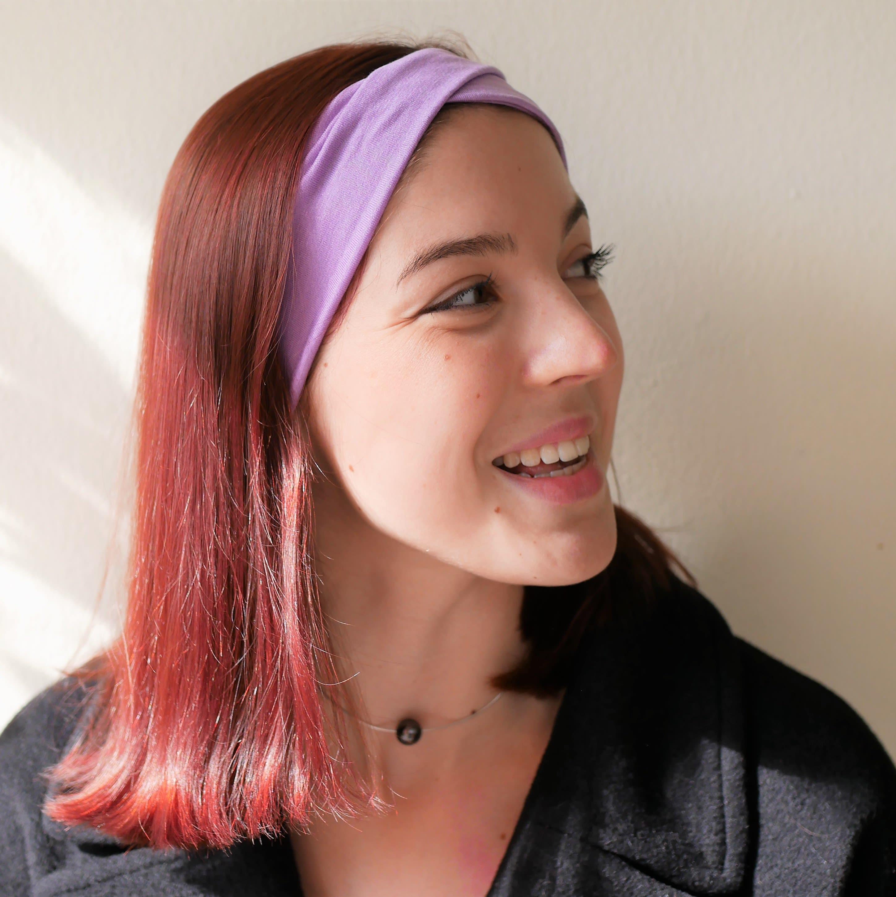 Double twist purple headband, wide headband, turban headband, yoga headband, workout headband