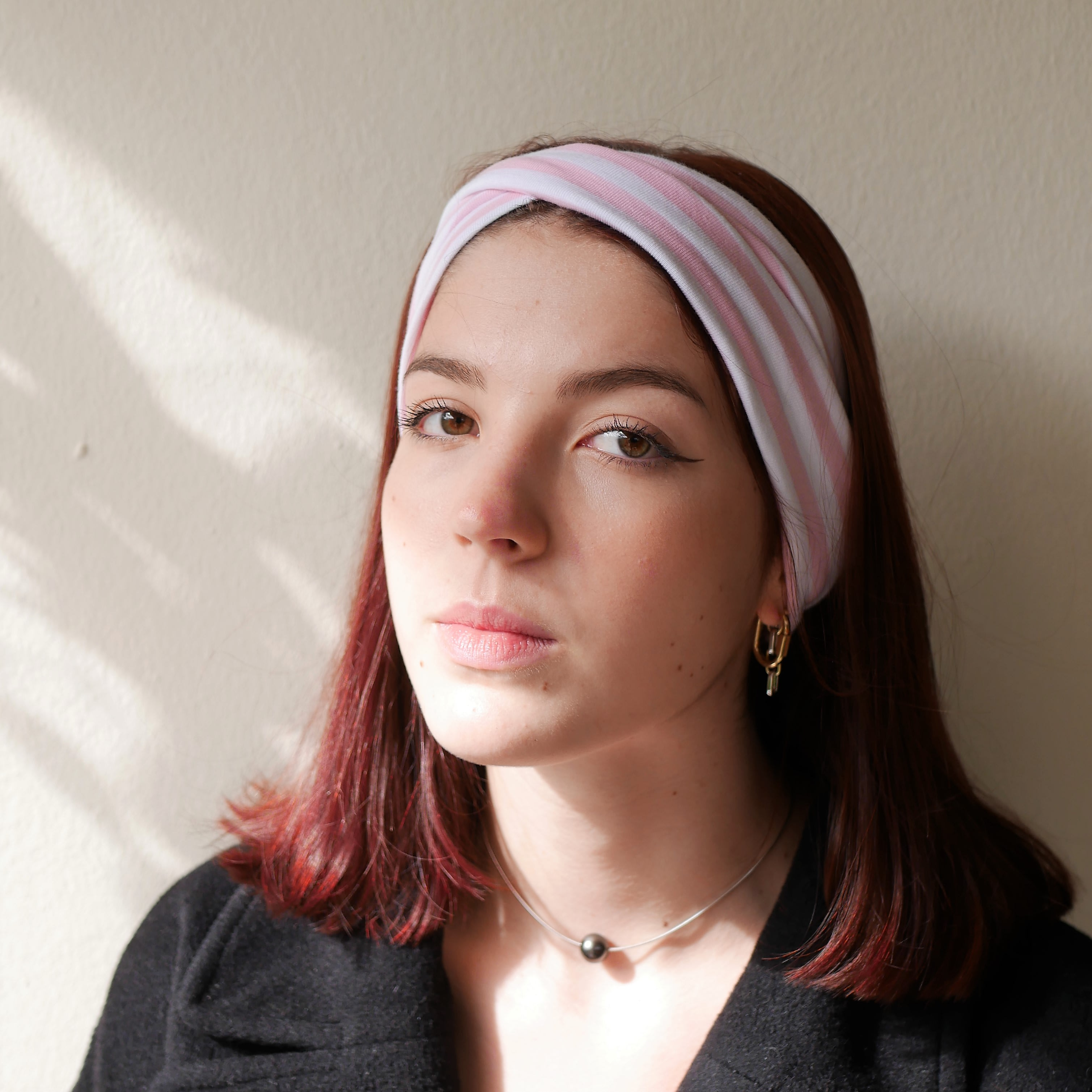 Pink and white stripped headband. Double twist wide headband, turban headband, fifties headband