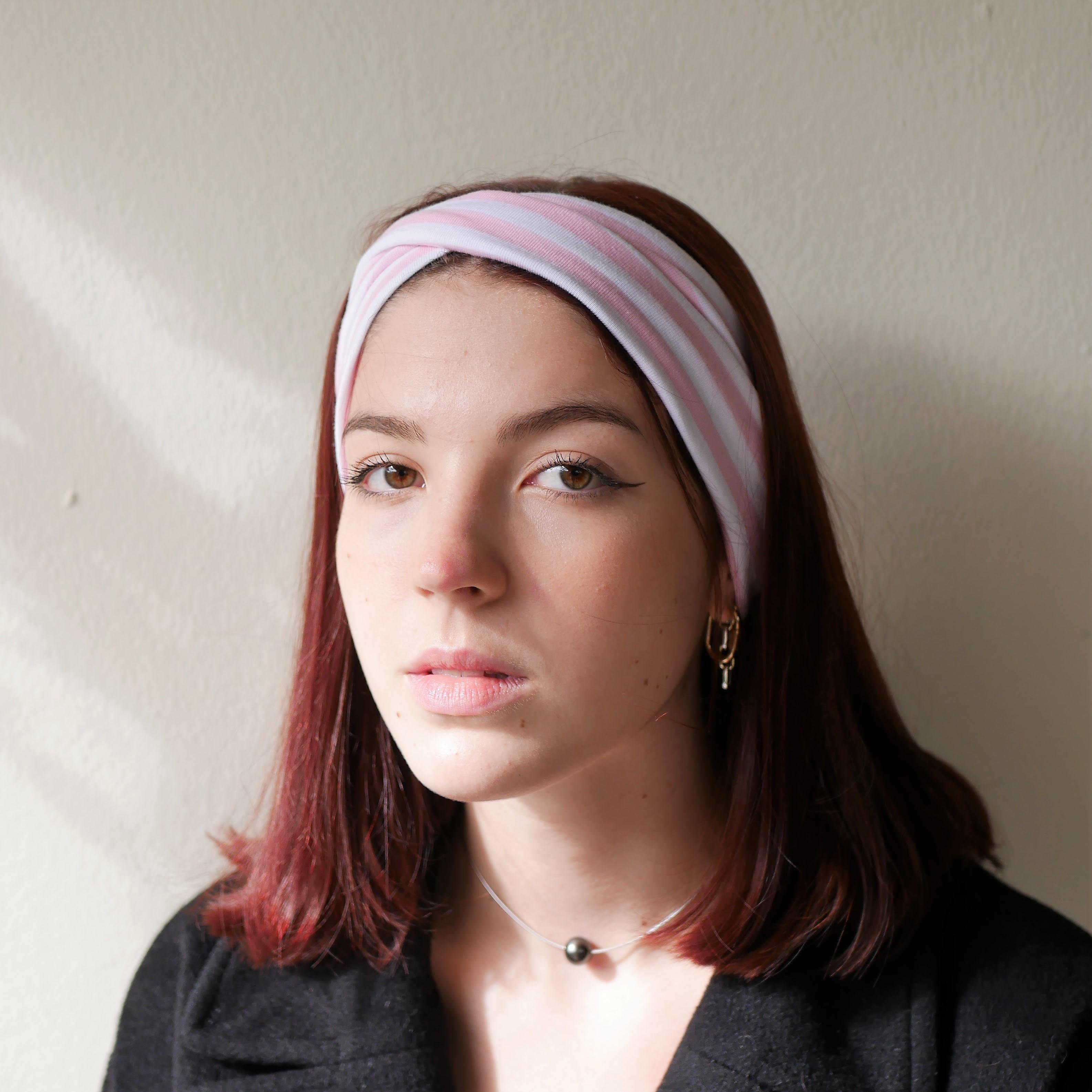 Bandeau croisé à rayures rose et blanc, bandeau droit très large, bandeau turban, bandeau style années 50, bandeau Lolita