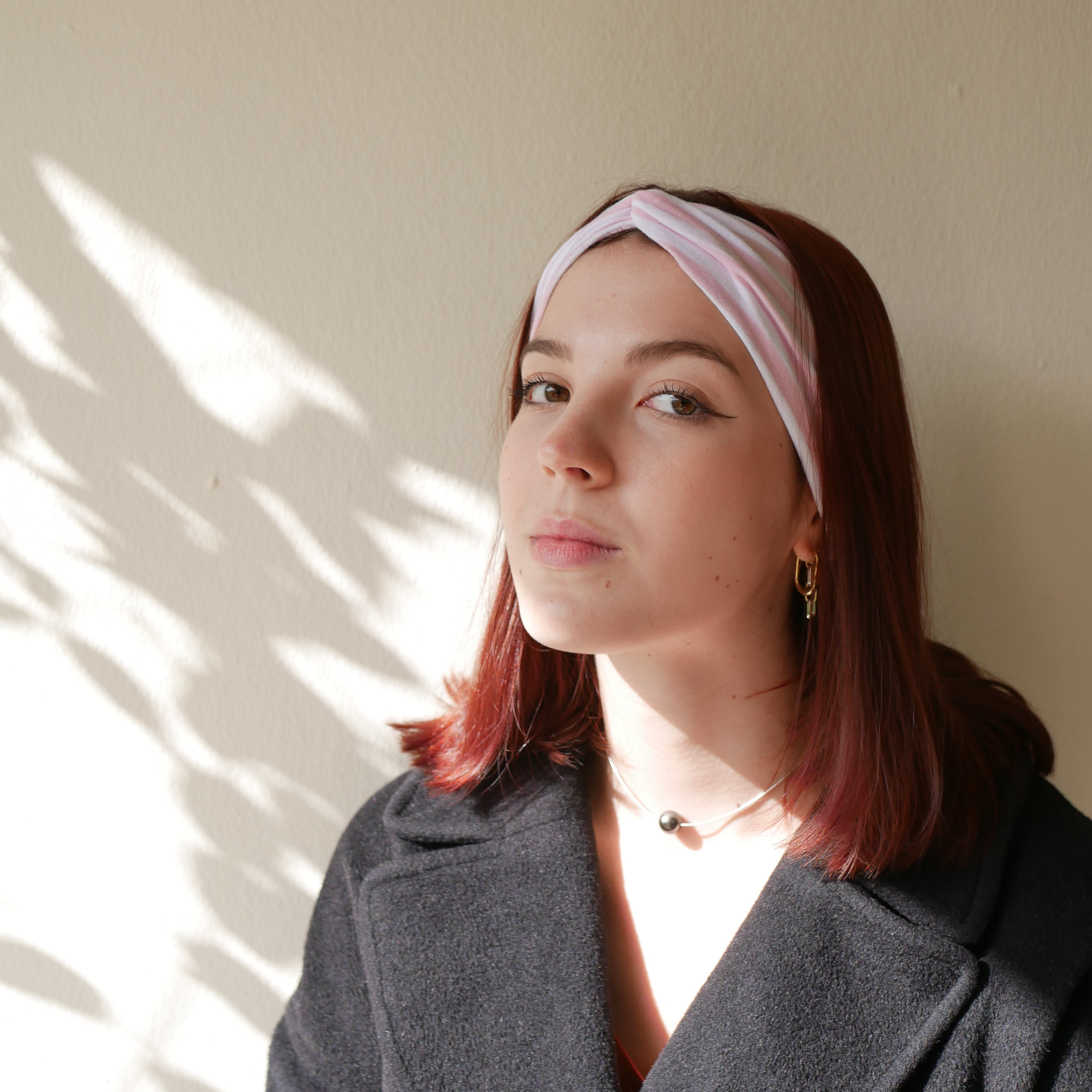 Pink and white Turban headband, wide headband, fifties headband, yoga headband, lolita headband