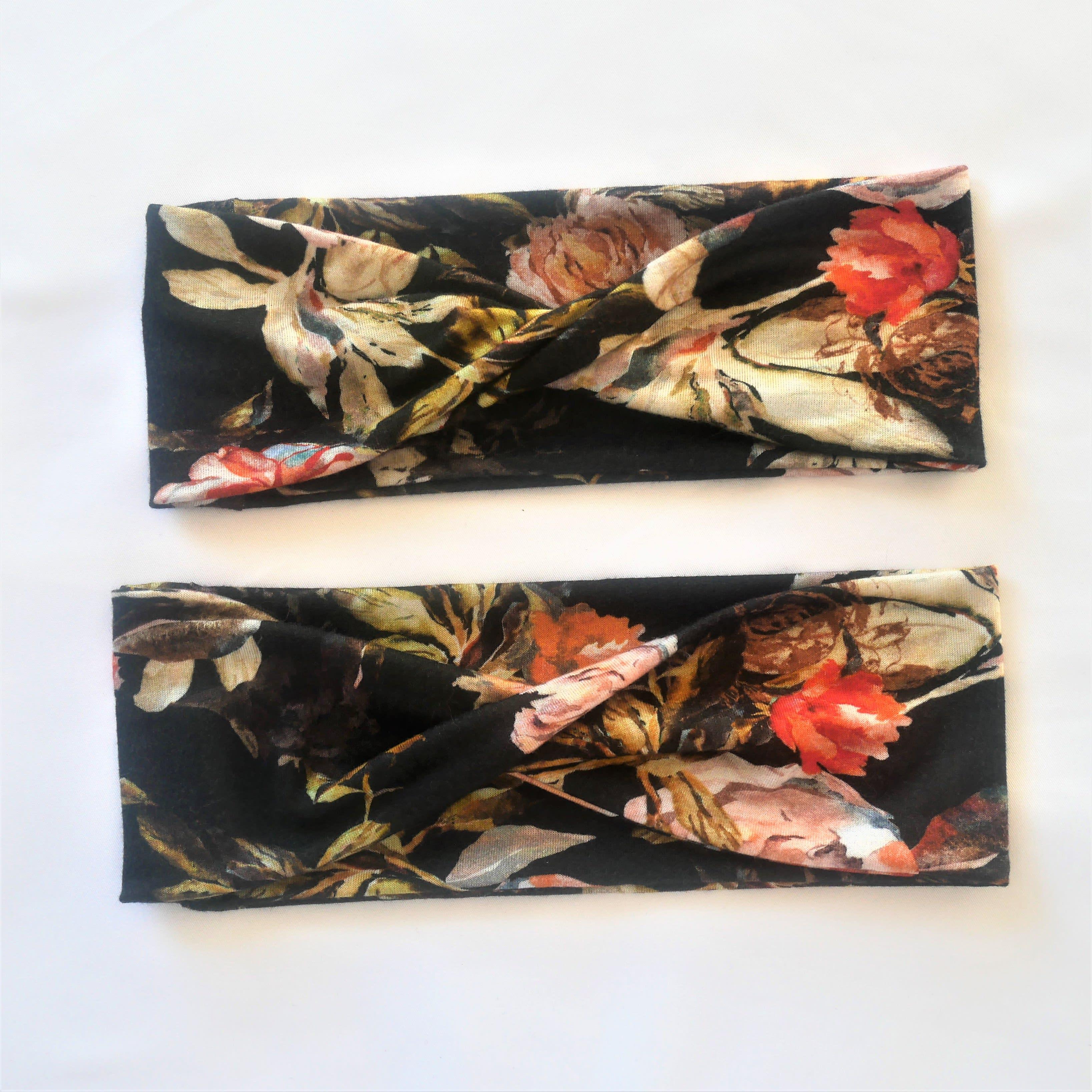 Black flowered headband.  Twist headband or turban headband. Wide headband. Fashion gift for women.