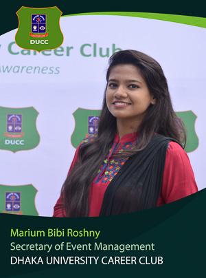 Marium Bibi Roshny - Event Planning and Management Secretary - DUCC - 2017-18