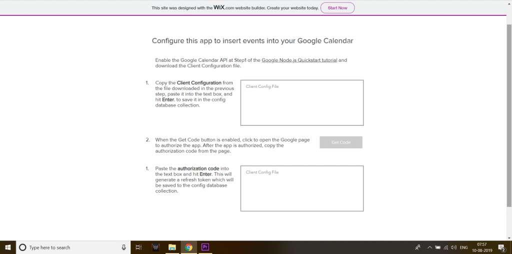 google calendar wix api