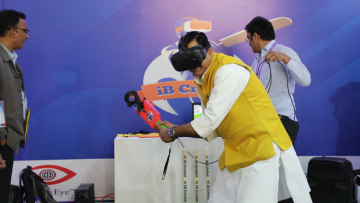 Dr. Mahendra SIngh, State Minister, Rural Development, Medical and Health, MoS, UP goes for a boundary