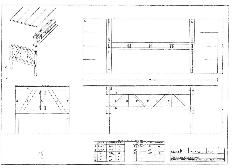 Enzo Mari, Proposta per un'Autoprogettazione, 1973 - Tavola 5/73 1:5 per Tavolo Rettangolare