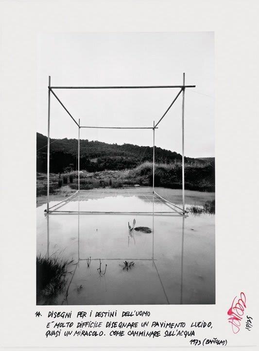 Ettore Sottsass, Disegni per i destini dell'uomo - 14, È molto difficile disegnare un pavimento lucido, quasi un miracolo. Come camminare sull'acqua, 1975 (Bañolas)