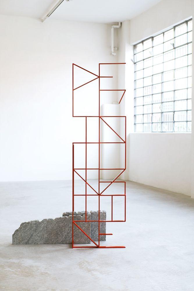 BRH+, Dell'intuizione / Dell'inconscio, 2019, Metallo, pietra di Luserna, 61 x 49 x 210 (H) cm