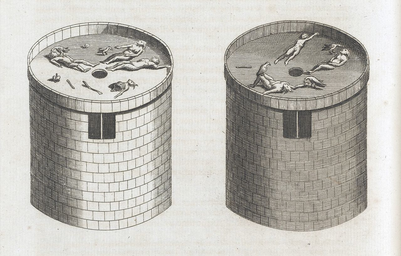 Printed drawing of Towers of SIlence, via Wikimedia Commons