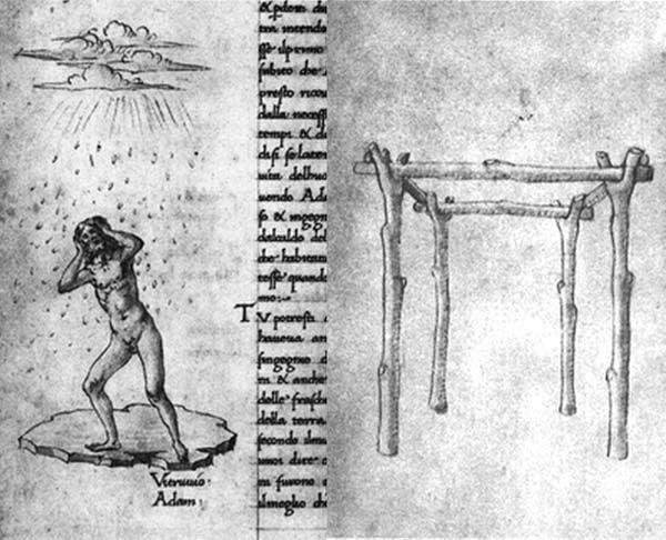 Antonio Averlino Filarete. Adam in Vitruvius, on the origins of architecture. c. 1465