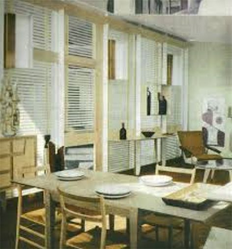 Gio Ponti, finestra arredata in Alloggio Uniambientale, X Triennale di Milano, 1954, via Domus