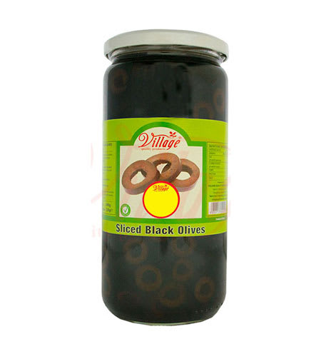 village sliced black olives 690g