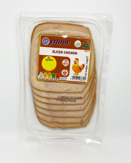 aynoor sliced chicken halal 130g