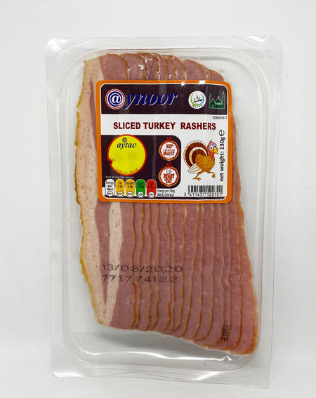 aynoor sliced turkey rashers halal 130g