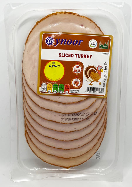 aynoor sliced turkey halal 130g