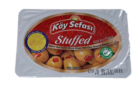 koy sefasi stuffed green olives with red pepper 200g
