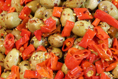 green olives with red pepper and oregano 330g