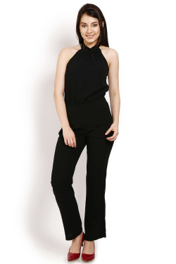 Black jumpsuit with sequined halter neck