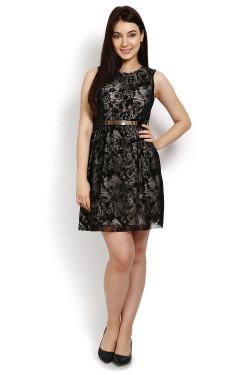 Short sleeveless black A-line dress