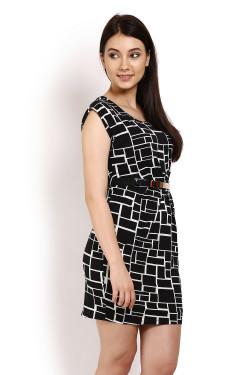 Black Printed Bodycon Dress