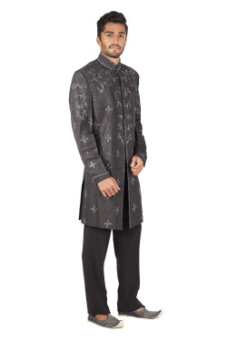 2 piece sherwani and trouser set all over front yoke sleeves and back embroidery