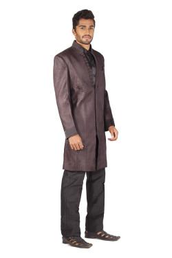 3 piece mandarin collar Sherwani with pocket square