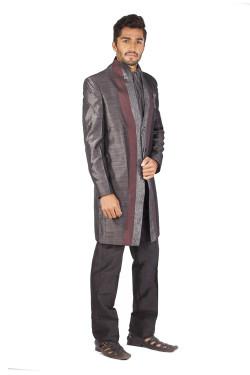 Cien Grey and Maroon Sherwani Set