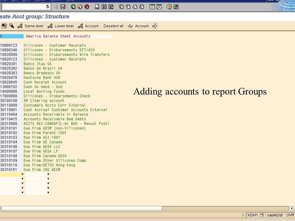 3. adding accounts to report groups