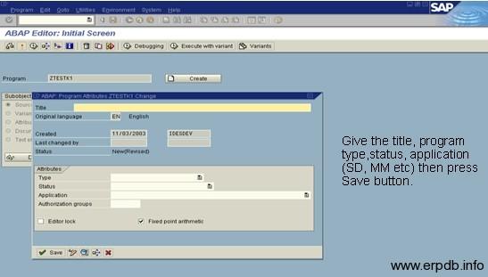 Create Program in SAP ABAP 2