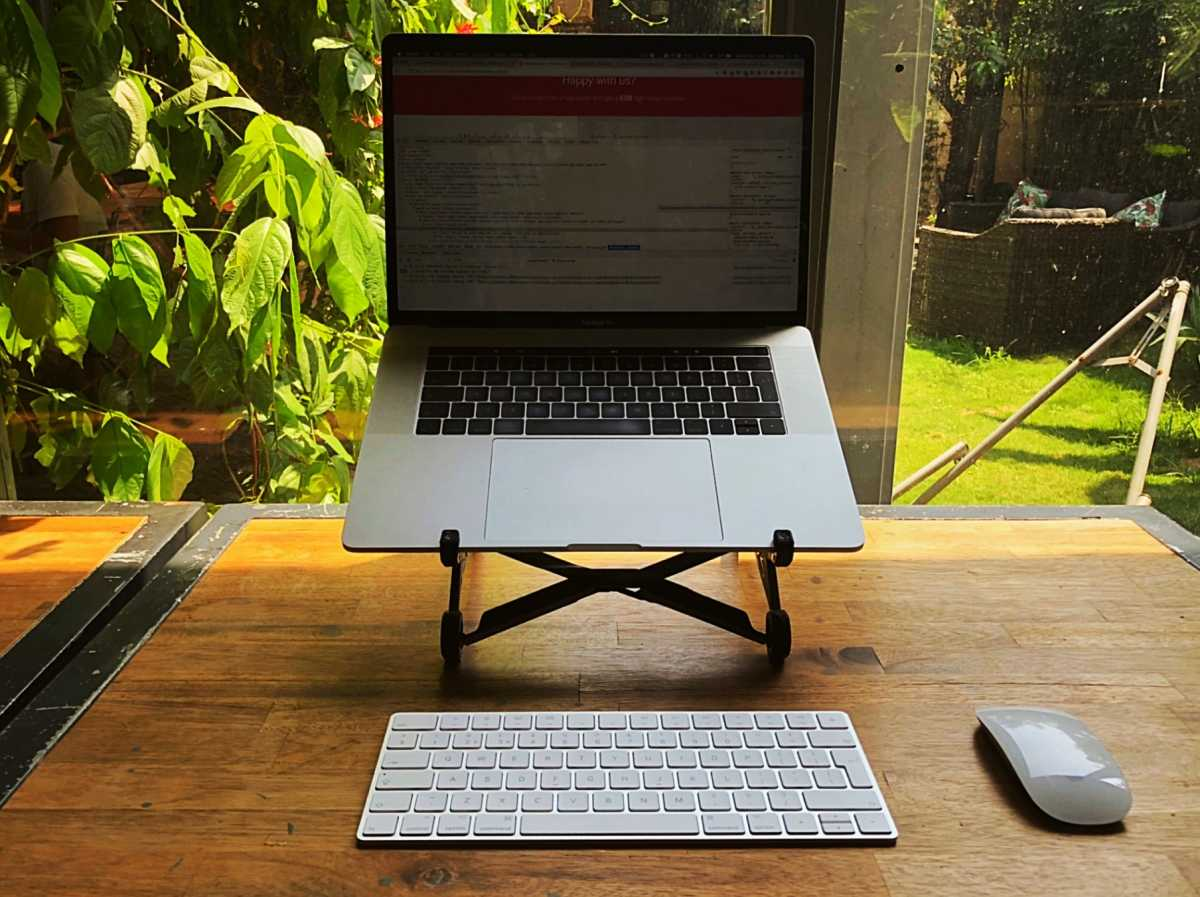 Roost laptop stand in action