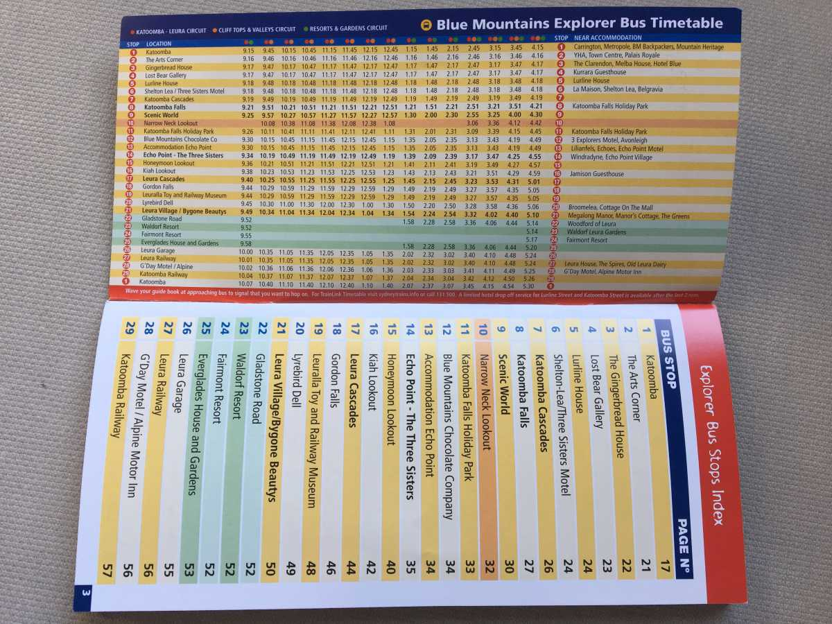 The bus timetable
