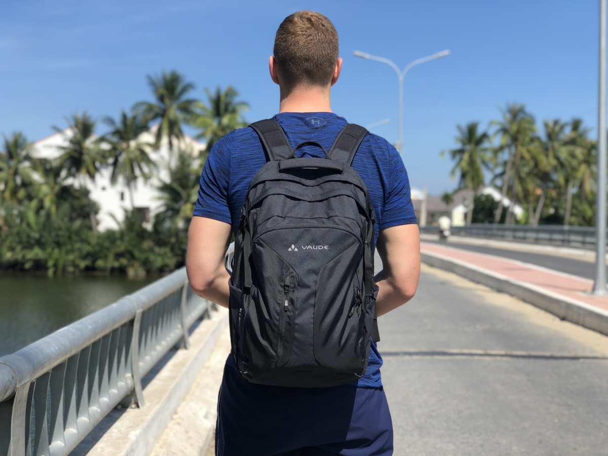 Karl wearing his Vaude backpack