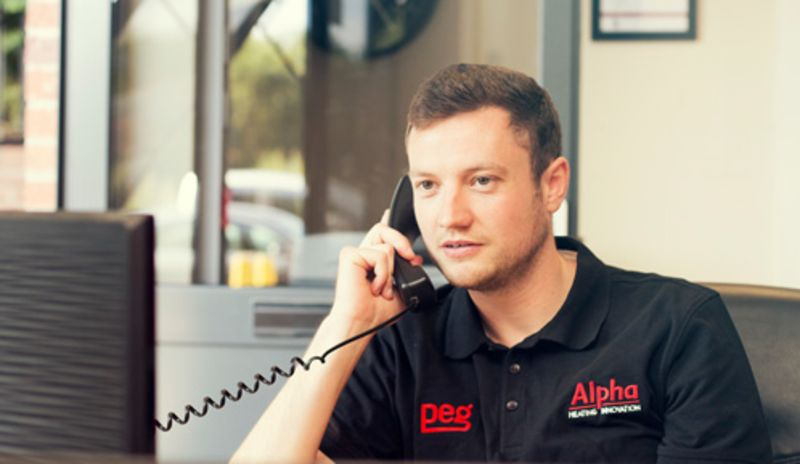 PEG Team member on phone