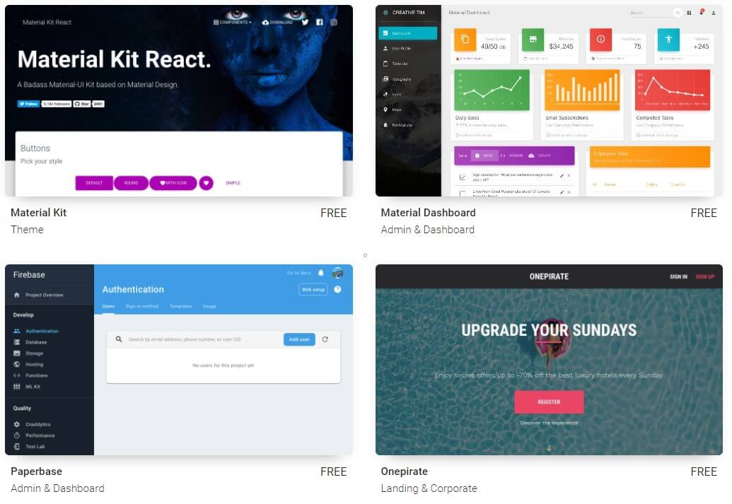 free Material-UI themes