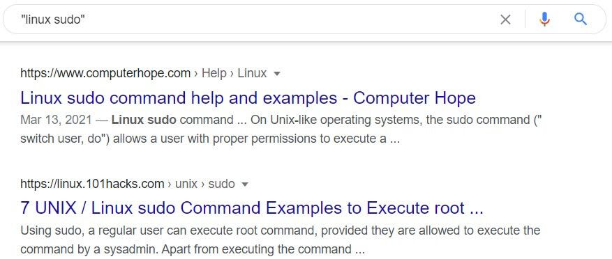 Search for linux sudo in that order