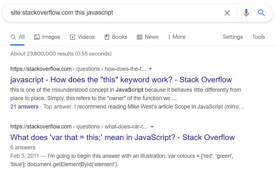 Search inside specific sites with the site: command