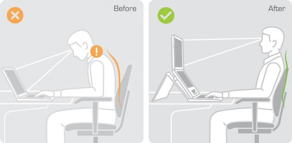 A before/after pic with a man bent over a screen versus sitting upright