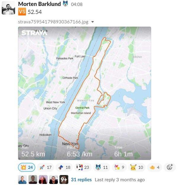 Morten posting his Strava run of 52.54 km on Slack