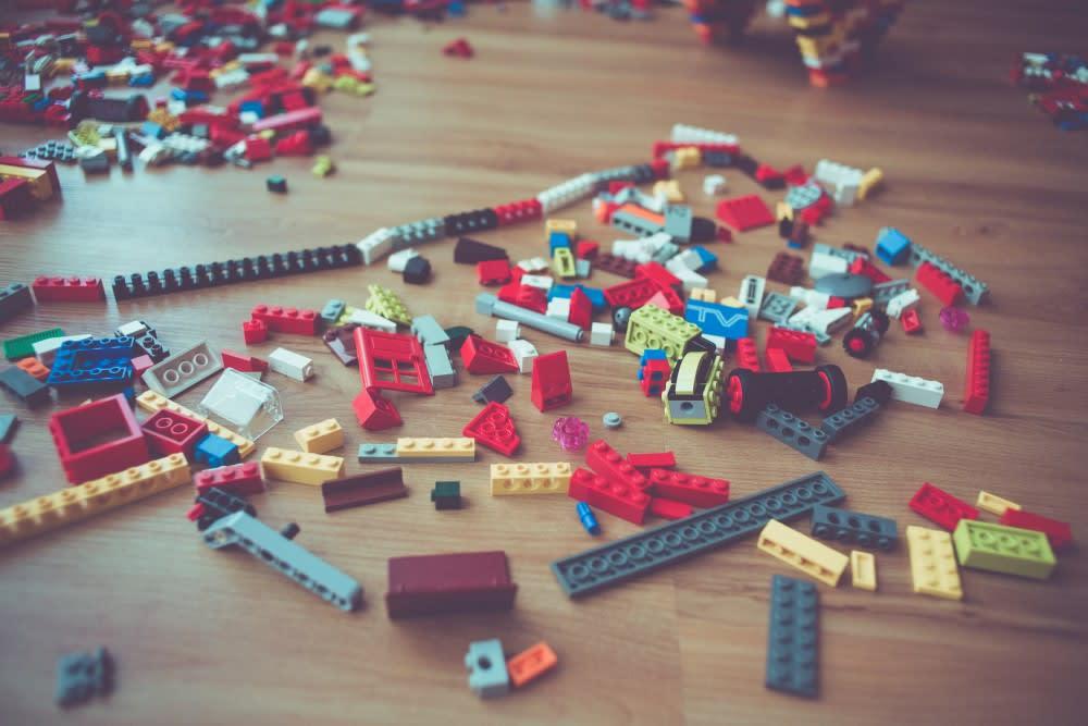 A floor full of Lego blocks