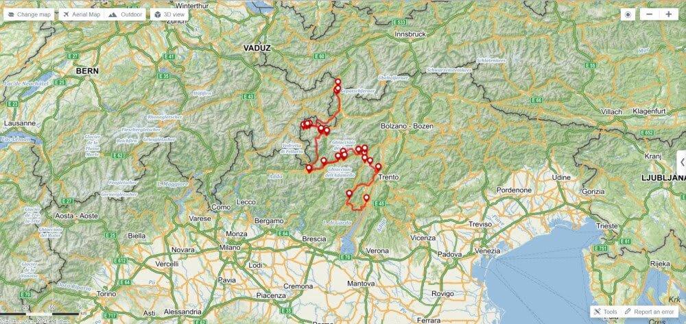 A map of Michal's Transalp journey