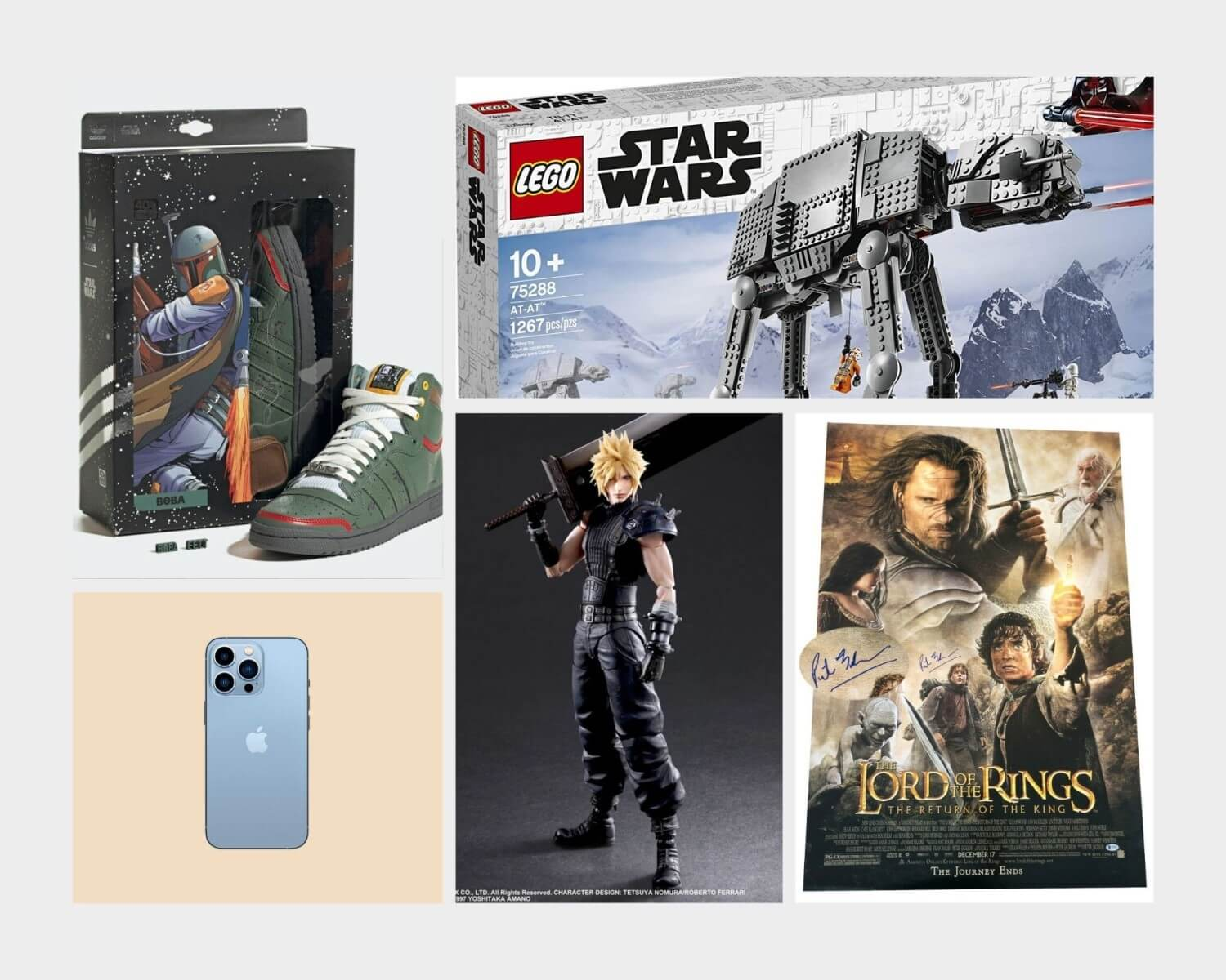 A collage of prizes you could win, including an iPhone and Mandalorian sneakers