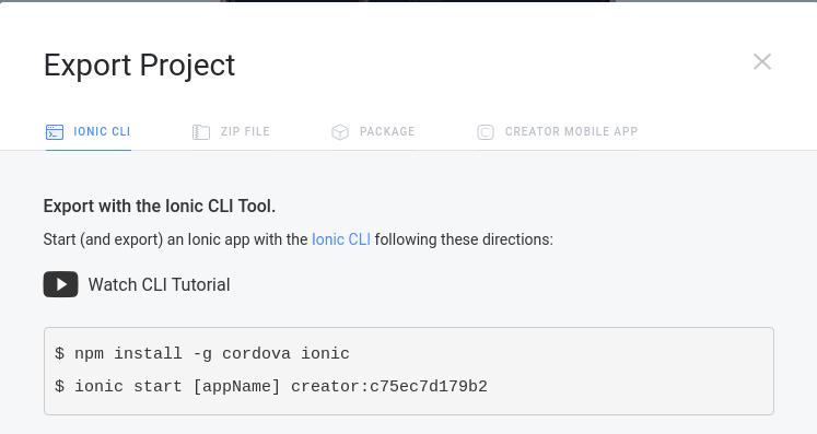 Export project – CLI