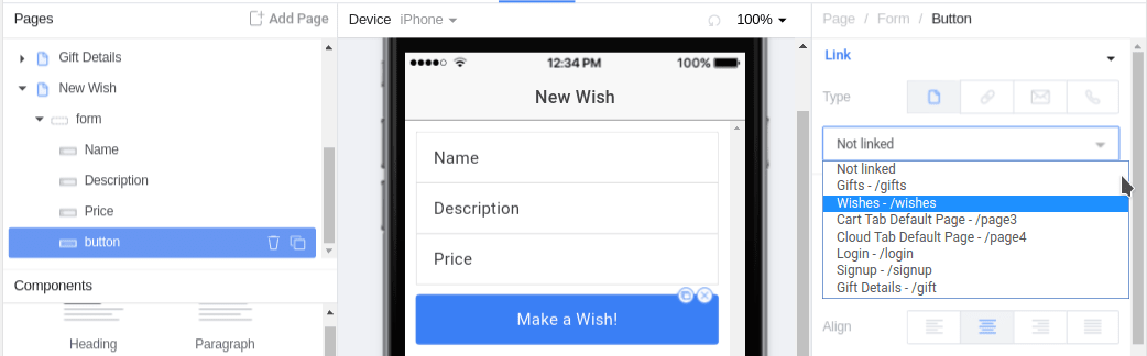 Wish button