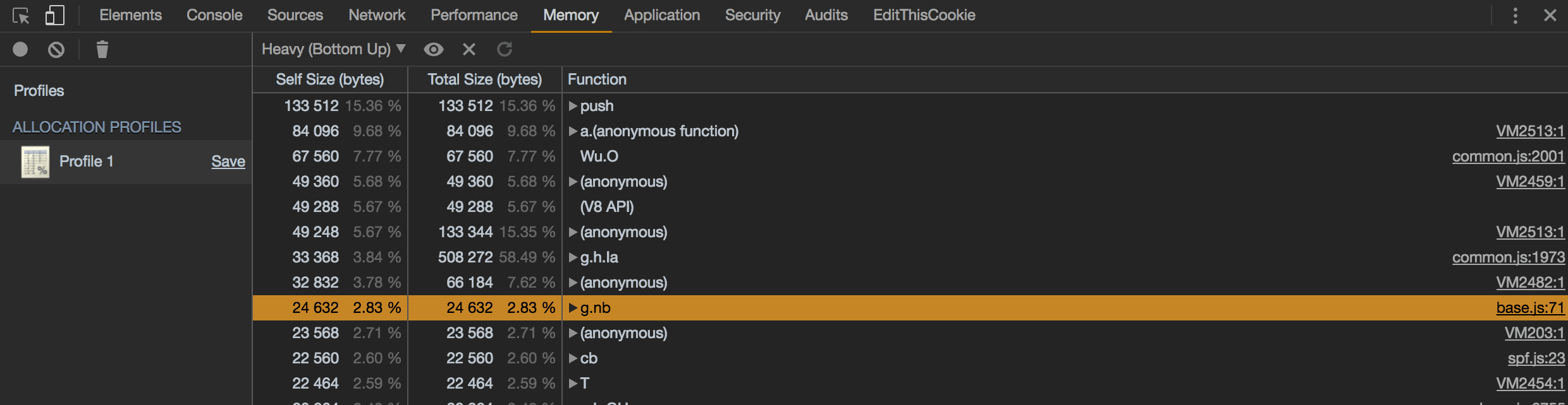Allocation Profile Devtools