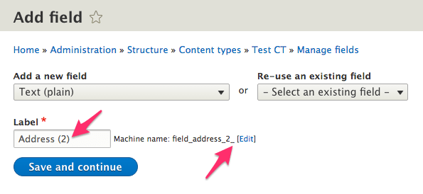 Changing the machine name in the add field form
